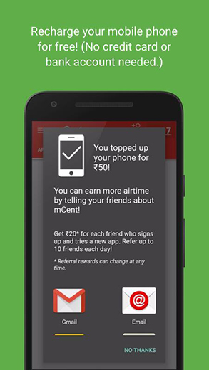 mCent Free Mobile Recharge