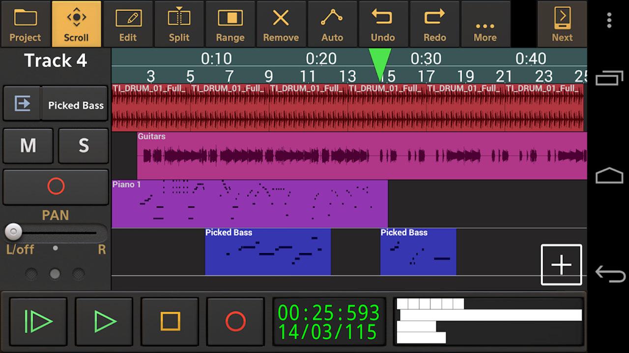 Audio evolution mobile studio screen 1
