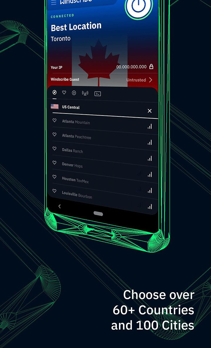 Windscribe VPN screen 2