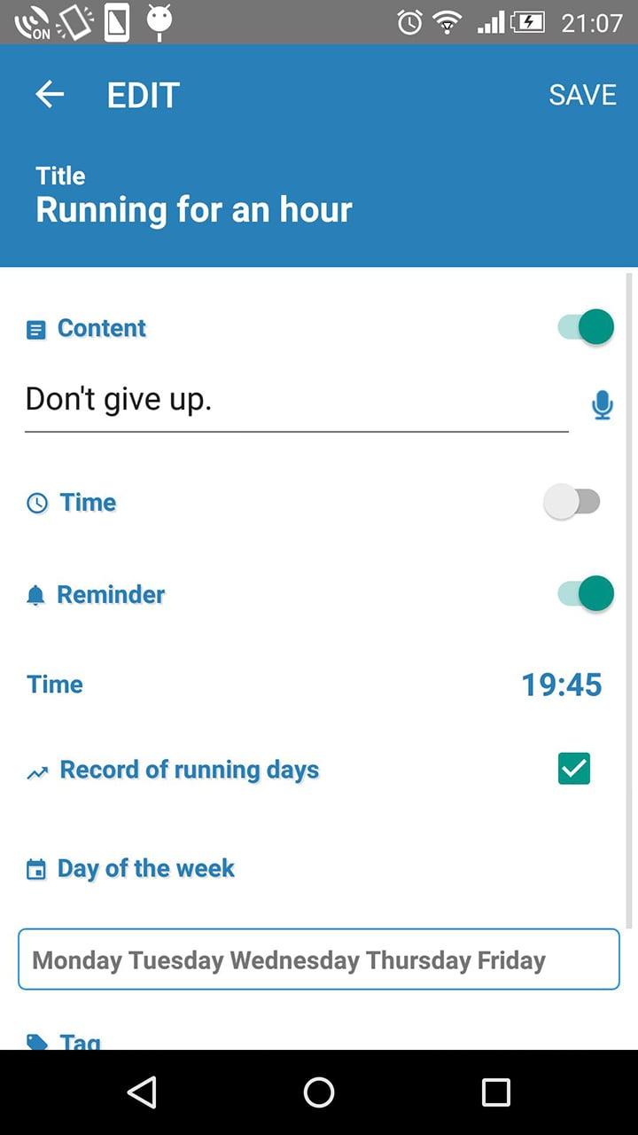 Daily check screen 5