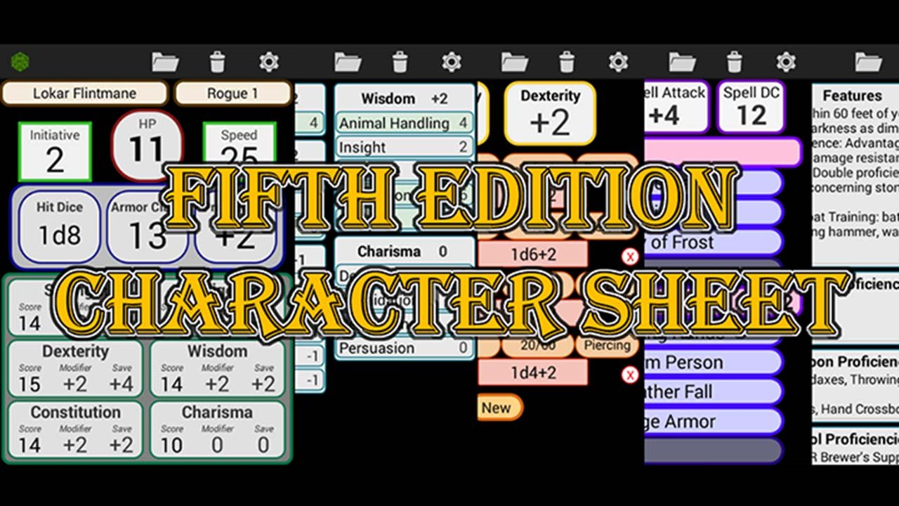 Fifth Edition Character Sheet poster