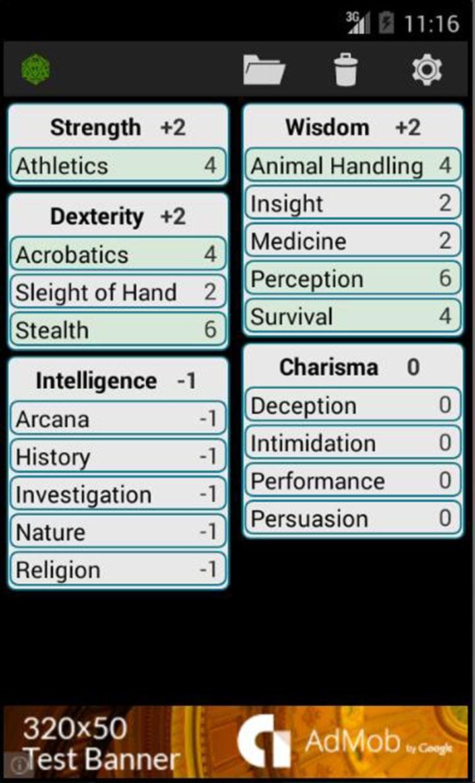 Fifth Edition Character Sheet screen 1