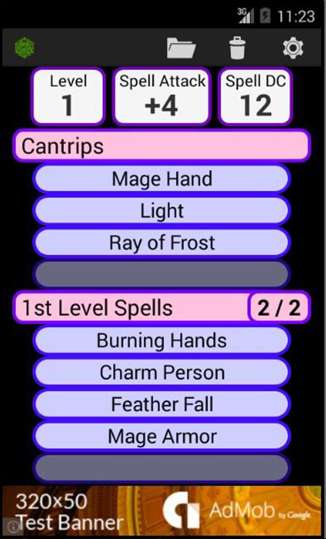 Fifth Edition Character Sheet screen 3