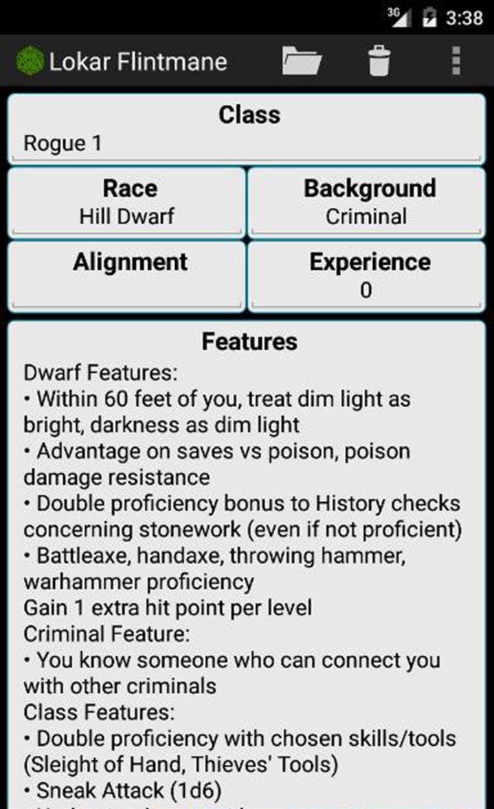 Fifth Edition Character Sheet screen 4