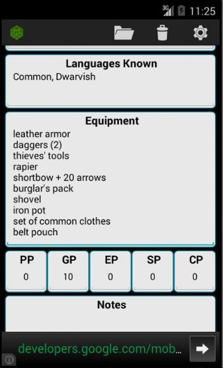 Fifth Edition Character Sheet screen 5