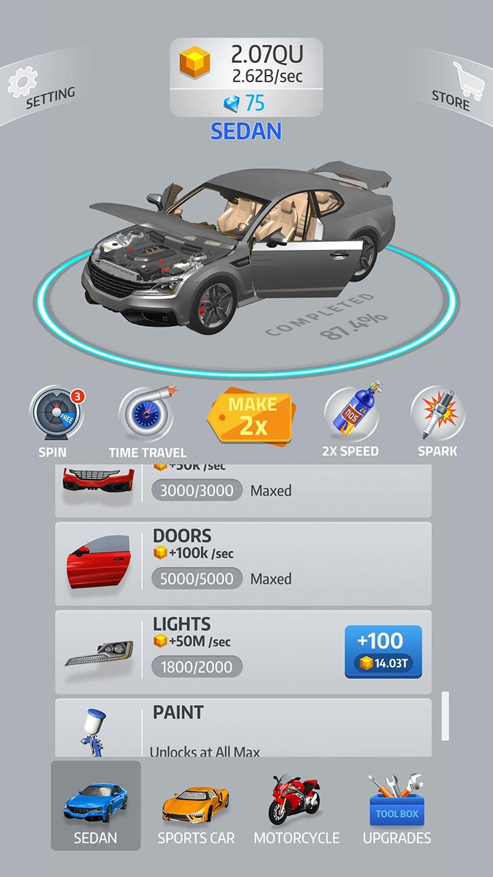 Idle Car screen 2