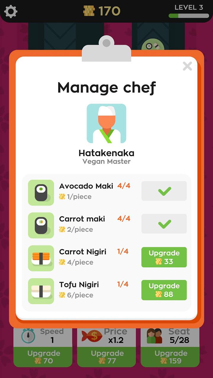 Sushi Bar Idle screen 2