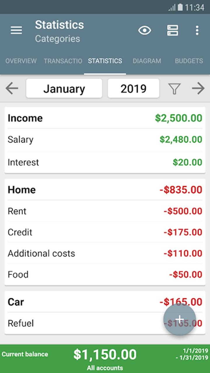 My Budget Book screen 2