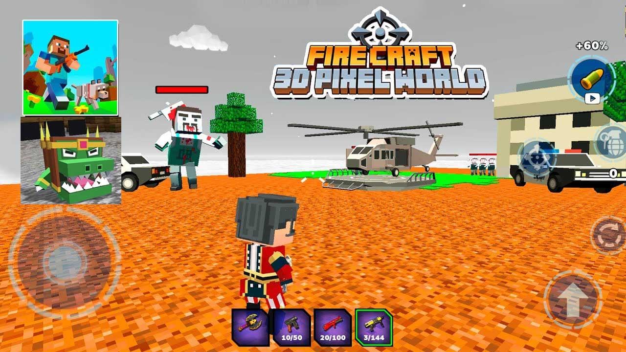 Fire Craft 3D Pixel World poster