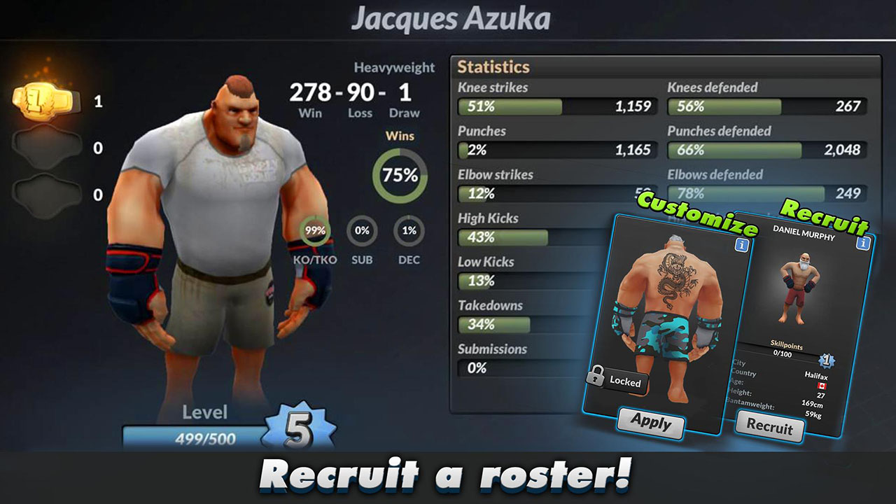 MMA Manager screen 2