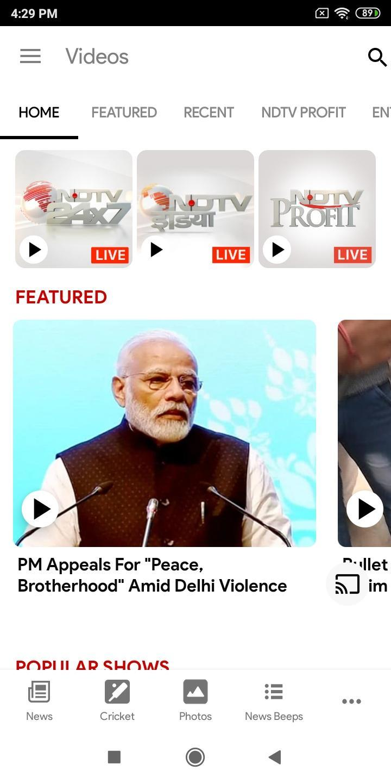 NDTV News India screen 1
